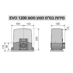 מנוע לשער חשמלי תעשייתי EVO 1200 מבית טלקומה -קרדין