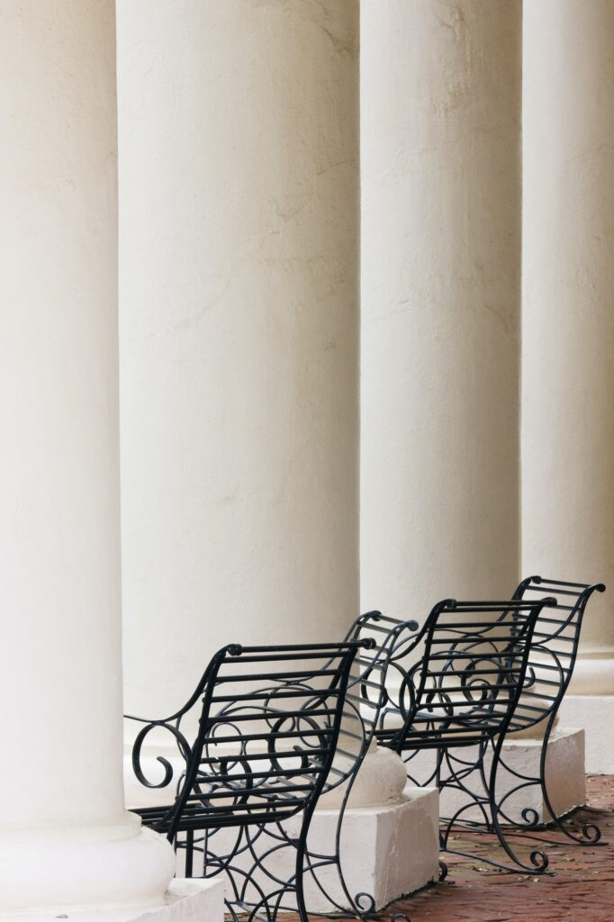 Wrought Iron Chairs and Columns