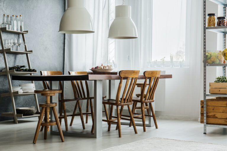 Wooden table with metallic legs