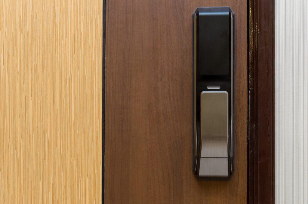 Digital door lock on wooden door